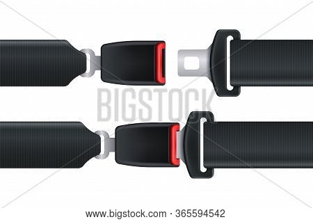 Seat Belt. Isolated Seatbelt For Car Or Airplane Safety Concept. Open And Closed Seat Belt Vector Il