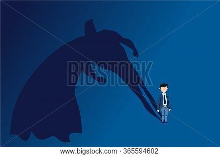 Businessman Superhero. Successful Business Startup, Motivation And Ambition. Professional Career Dev