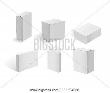 White Cardboard Boxes. Blank White Packaging Container Mockups Vector Illustration. Realistic Cardbo