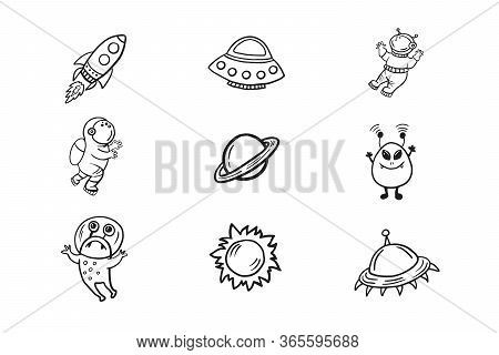 Set Of Space Illustrations. Space Icons. Vector Doodle In Doodle Style. Astronauts, Aliens, Stars, P