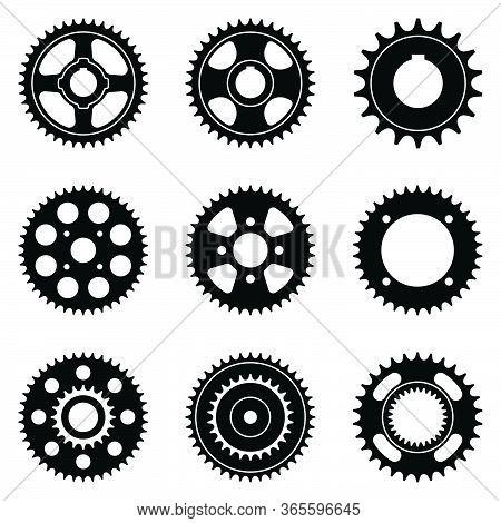 Sprocket Wheel Icon Set. Machine Parts. Vector Illustration
