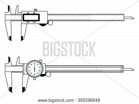 Vernier Caliper. Dial And Digital Indicator. Measuring Tools