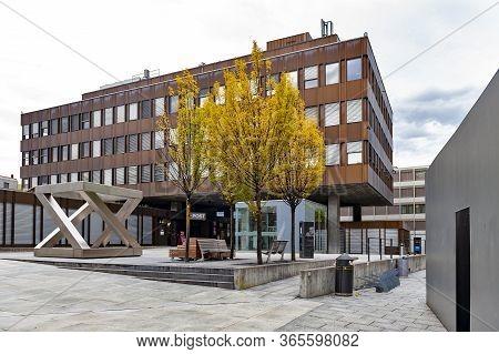 Vaduz, Liechtenstein - October 2019: Building Exterior Of Vaduz Post Office, A Branch Of Liechtenste