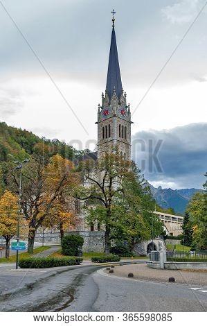 Vaduz, Liechtenstein - October 2019: Vaduz Cathedral, Or Cathedral Of St Florin, A Neo-gothic Church