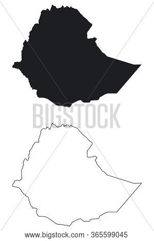 Ethiopia Country Map. Black Silhouette And Outline Isolated On White Background. Eps Vector