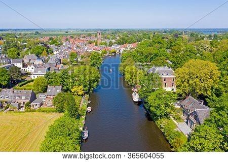 Aerial from the village Loenen aan de Vecht in the Netherlands in spring