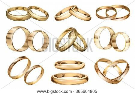 Wedding Ring Vector Realistic Set Icon. Isolated Realistic Set Icon Jewelry For Engagement.vector Il