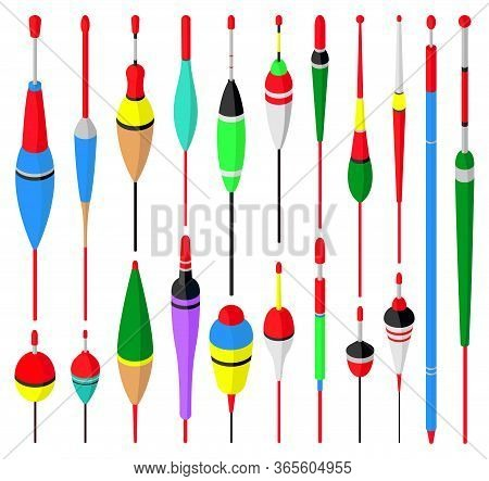 Fishing Float Vector Isometric Set Icon. Vector Illustration Bobber On White Background. Isolated Is