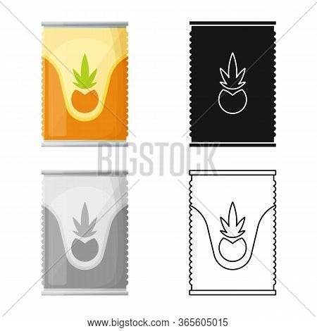 Vector Design Of Bank And Canned Logo. Graphic Of Bank And Ananas Stock Vector Illustration.