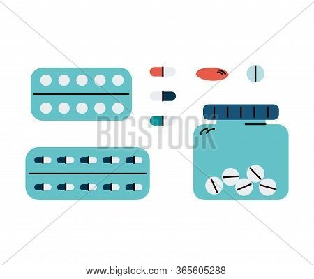 Isolated Pill And Vitamin Set - Drug Blister, Jar And Loose Capsules
