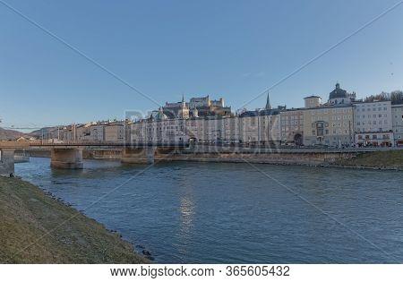 Salzburg, Austria, February 22, 2020: Beautiful View Of The City Center With The Main Bridge Staatsb