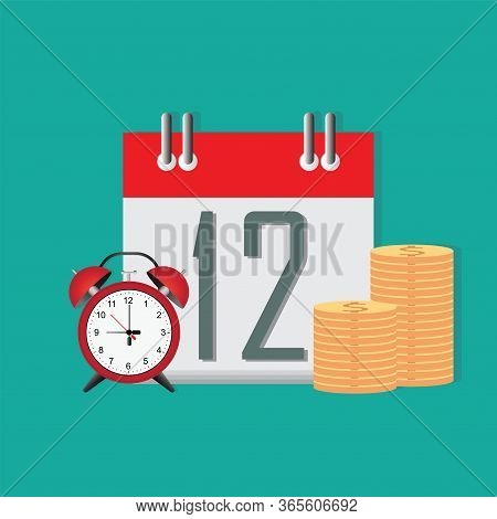 Time To Save Money Conceptual, Timer Or Clock With Lots Of Cash And Calendar Date.money Saving.times