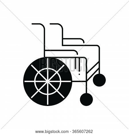 Black Solid Icon For Wheel-chair Handicapped Physical-impairment Disability