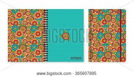 Cover Design For Notebooks Or Scrapbooks With Vintage Floral Pattern. Psychedelic Or Hippie Style Ba