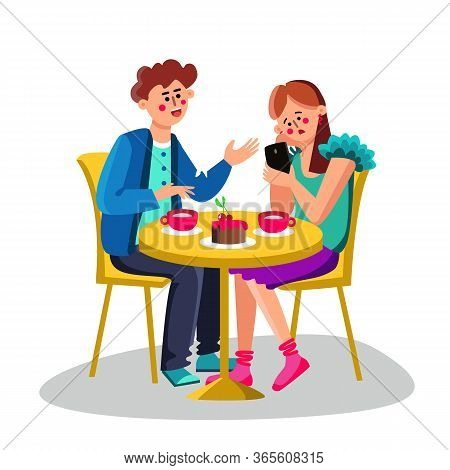 Young Woman With Smartphone Ignore Man Vector