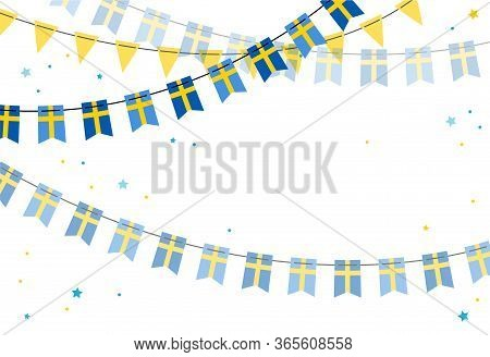 National Day Of Sweden, Independence Day. Vector Banner Background With Bunting Of Swedish Flags. Ba