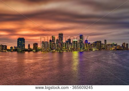 Miami Skyline At Night Sunset. Miami, Florida, Usa Skyline On Biscayne Bay