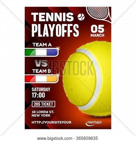Tennis Racquet Sport Hit Ball Game Poster Vector. Yellow Ball Equipment On Bright Advertising Announ