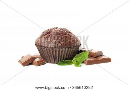 Delicious Chocolate And Muffin Isolated On White Background