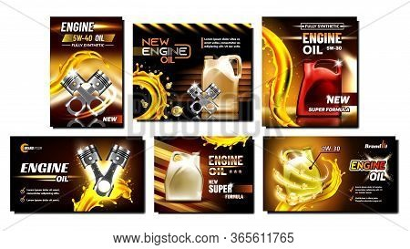 Engine Oil Car Repair Service Posters Set Vector. Collection Of Different Creative Advertise Banners