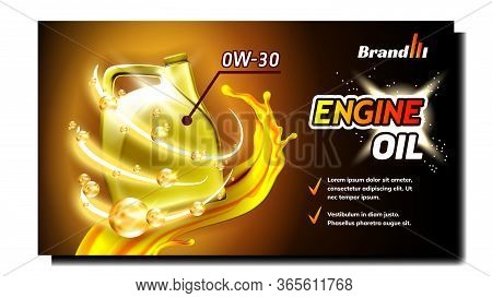 Engine Synthetic Oil Advertising Banner Vector. Car Motor Lubricant Oil Blank Plastic Package, Flow