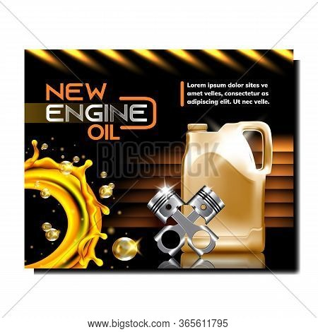 Car Service Station Promotional Poster Vector. Engine Oil Blank Canister, Golden Lubrication Liquid