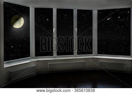 View From Window To Night Sky With Stars And Shining Moon. Window With View To Moon And Dark Night S