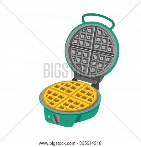 Round Waffle Iron With Waffles. Vector Illustration Of Waffle Cooker For Web Design Isolated On Whit