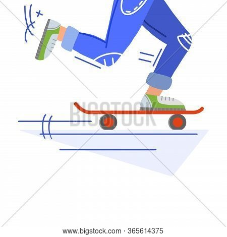 Stylish Skateboarder Rides Skateboard In Cartoon Hand Drawn Doodle Style. Vector Flat Illustration