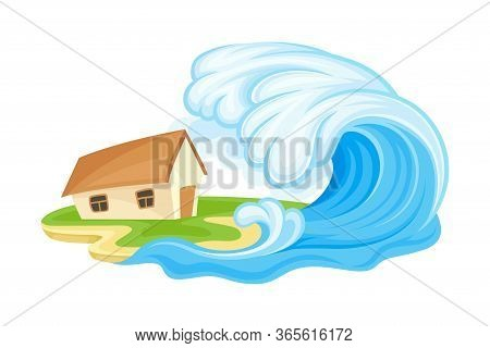Tsunami Wave Battering Upon The House As Natural Cataclysm Vector Illustration