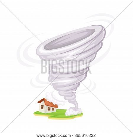 Tornado With Rotating Column Of Air As Natural Cataclysm Vector Illustration