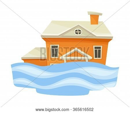 House Undergoing Natural Disaster Like Overflow Water Vector Illustration