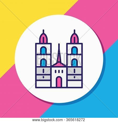 Vector Illustration Of Grossmunster Cathedral Icon Colored Line. Beautiful Culture Element Also Can