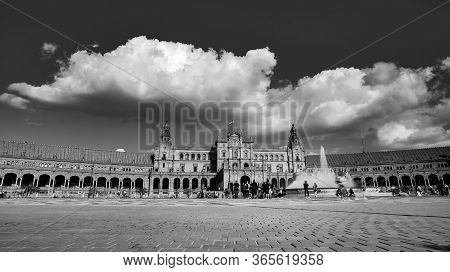 Seville, Spain - 10 February 2020 : Black And White Photography Of Plaza De Espana Spain Square Arch