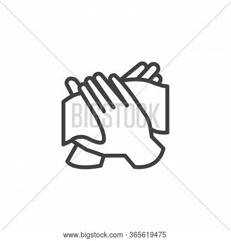 Hand Antibacterial Wipe Line Icon. Linear Style Sign For Mobile Concept And Web Design. Hand With We