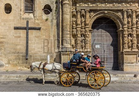 El Puerto De Santa Maria, Spain - May 15, 2019: Horse Carriage At The Priory Church In El Puerto De
