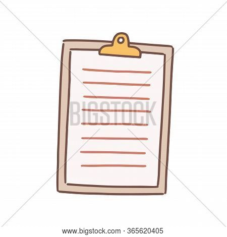 Cartoon Note Paper Blank With Clip Board Vector Flat Illustration. Colorful Sheet To Writing Notes I