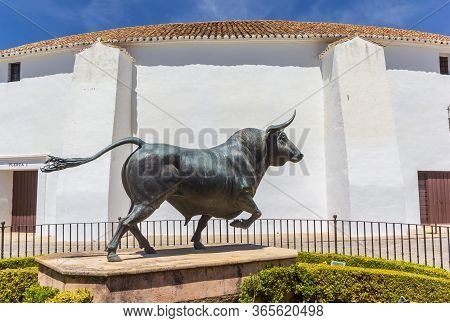Ronda, Spain - May 16, 2019: Sculpture Of A Bull In Front Of The Bullring In Ronda, Spain