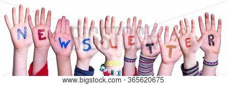 Children Hands Building Word Newsletter, Isolated Background