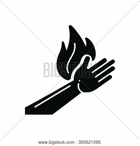 Black Solid Icon For Burn Burnout Injury  Burn-hand Pain