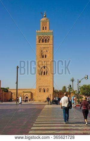 Marrakesh, Morocco - 12 October, 2019: Sunny View On Koutoubia Mosque In Medina At Marrakesh, Morocc