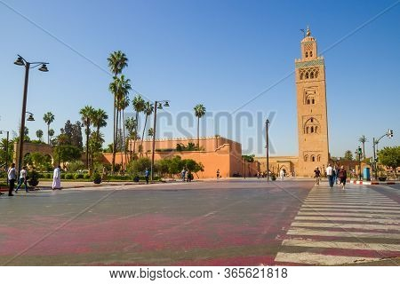 Marrakesh, Morocco - 12 October, 2019: View On Kutubiyya Mosque With Minaret In Marrakesh At Daytime