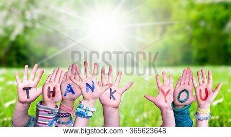 Children Hands Building Word Thank You, Grass Meadow