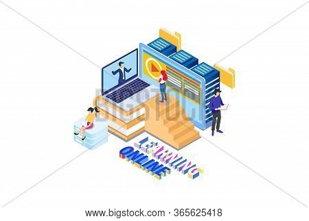 Modern Isometric Smart E-study Technology Illustration, Suitable For Diagrams, Infographics, Book Il