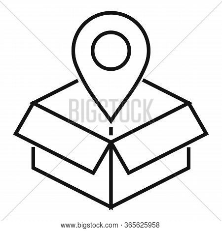 Gps Pin Delivery Box Icon. Outline Gps Pin Delivery Box Vector Icon For Web Design Isolated On White