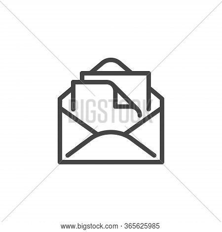 Thin Icon Email, Address And Mail Or Newsletter. Such Line Sign As Isolated Open Envelope And Paper