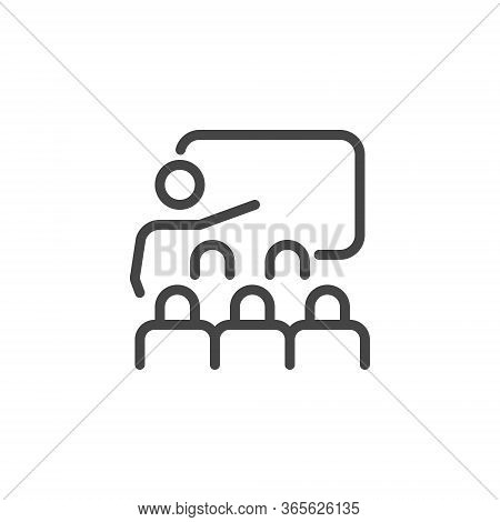 Thin Icon Training, Business Presentation And Seminar Or Coaching. Such Line Sign As Classroom And T