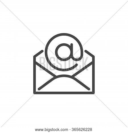 Thin Icon Of Email, Address And Mail Or Newsletter. Such Line Sign As Isolated Open Envelope And E-m