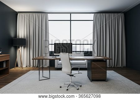 Contemporary Workspace Manager In A Contemporary Interior With City View.  Workplace And Corporate C