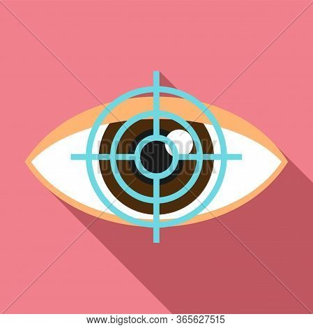 Target Eye Examination Icon. Flat Illustration Of Target Eye Examination Vector Icon For Web Design